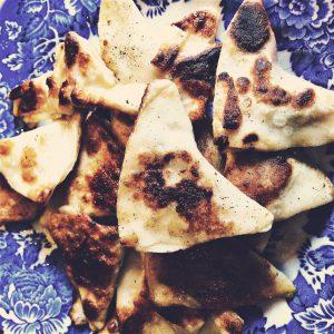 Leftover varenyky fried in butter